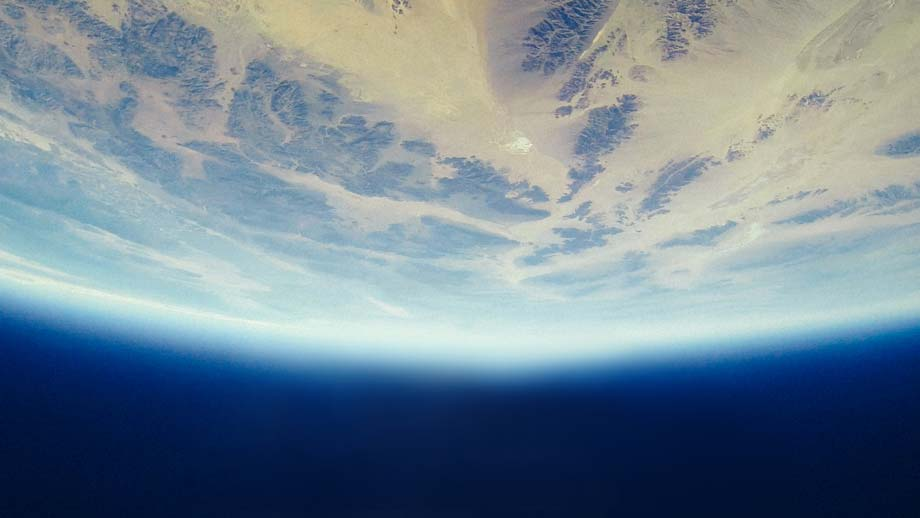 A curved earth in space